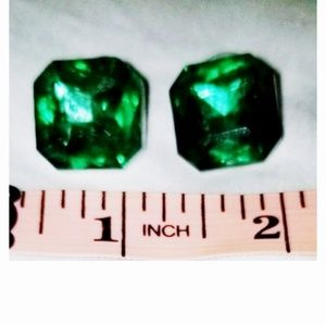 Kenneth Jay Lane Square Green Crystal Stud Earring